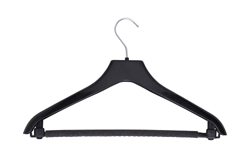 Black plastic clothes hanger isolated on white