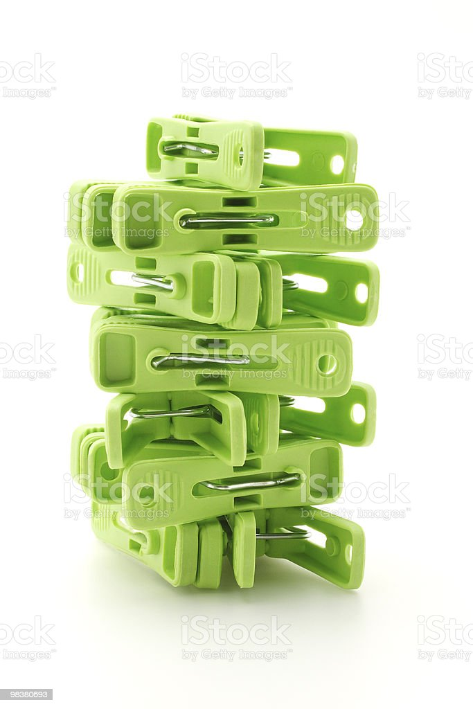 Plastic clothes pegs tower royalty-free stock photo