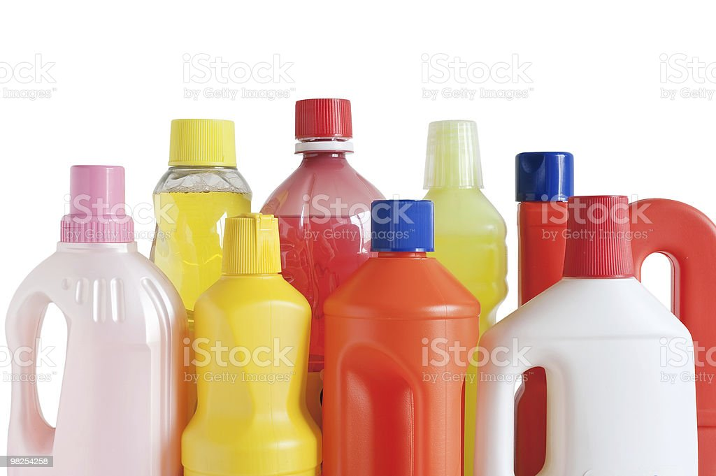 Plastic colorful detergent bottles royalty-free stock photo