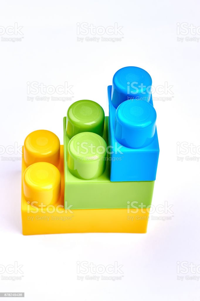 Plastic construction element of the children. stock photo