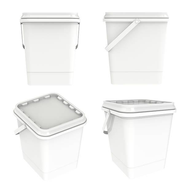 plastic container bucket white box isolated - kunststoff behälter bemalen streichen stock-fotos und bilder