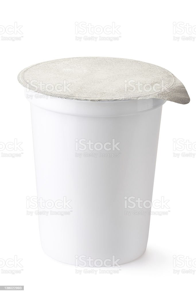 Plastic container for dairy foods with foil lid stock photo