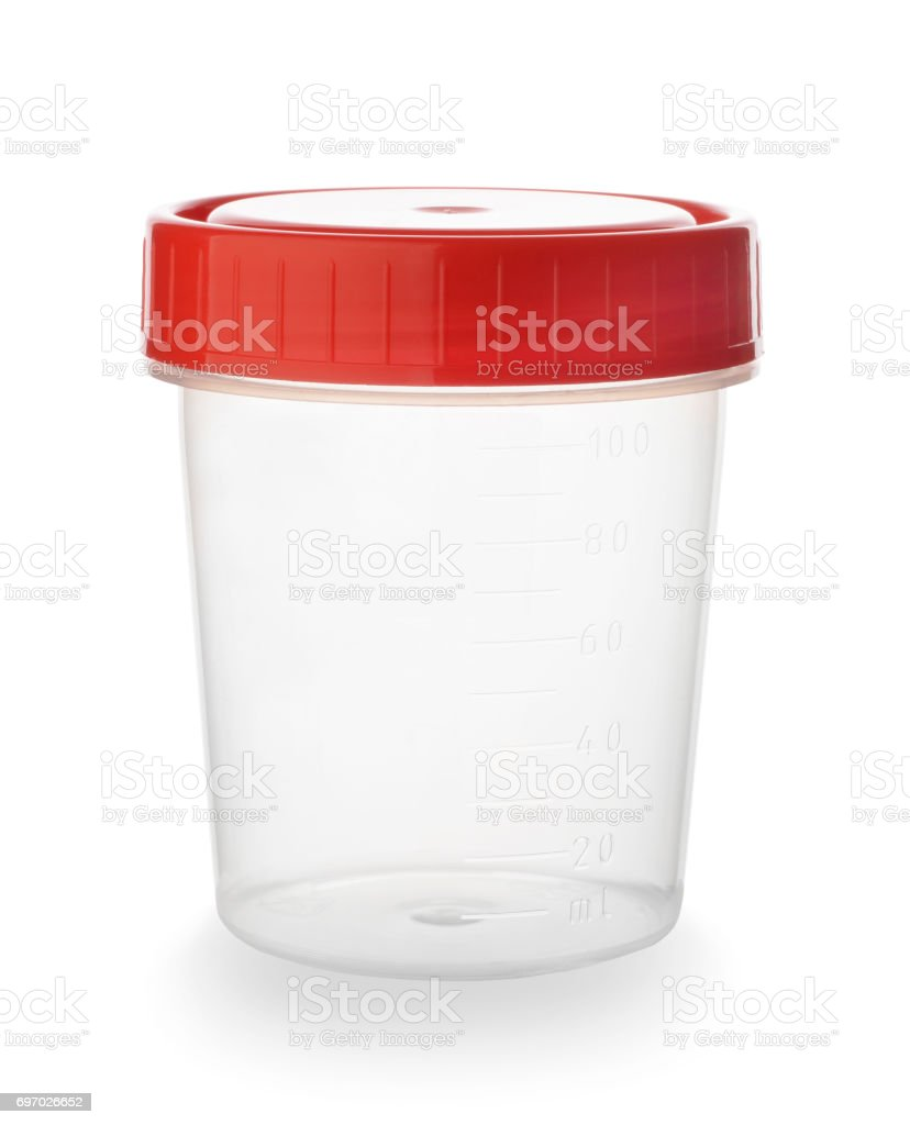 Plastic container for urine isolated stock photo