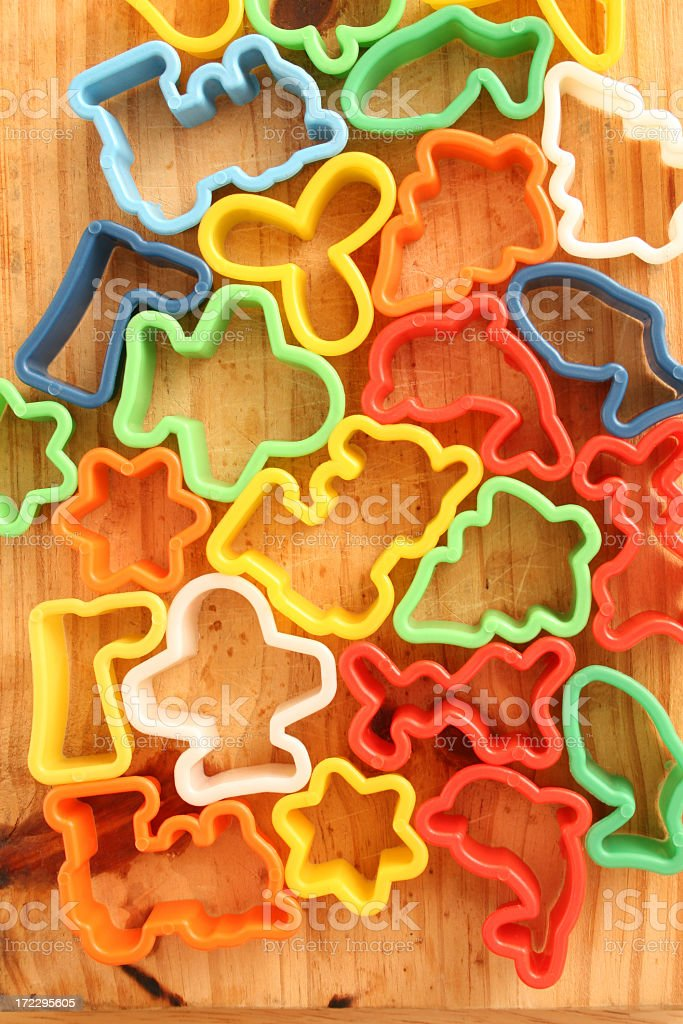 Plastic cookie cutters stock photo