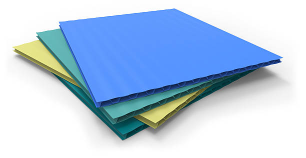 Plastic corrugated sandwich panels stock photo