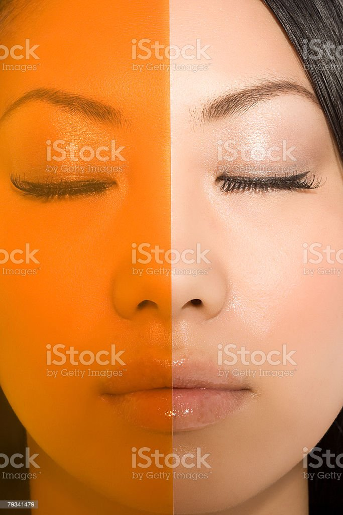 Plastic covering a womans face Lizenzfreies stock-foto