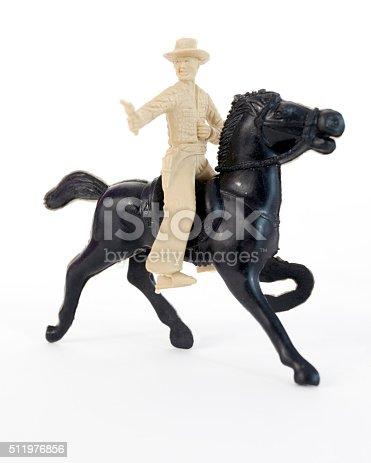 istock Plastic Cowboy on Horse 511976856