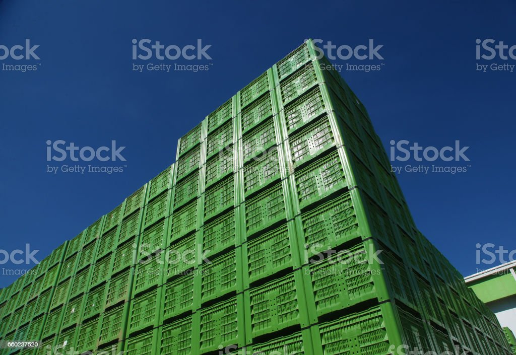 plastic crates stock photo