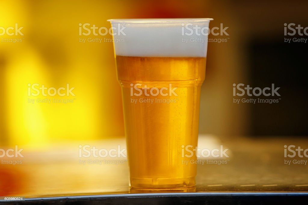 Plastic cup of beer, Disposable glass – Foto