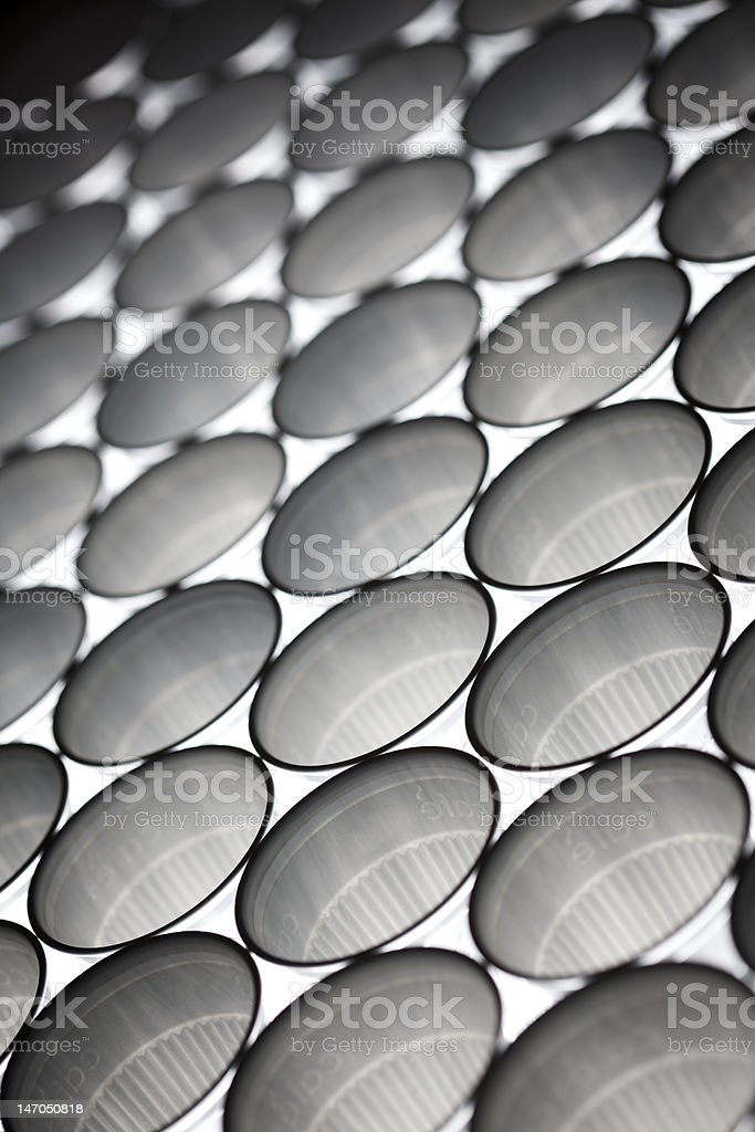 Plastic cups line-up, angular view royalty-free stock photo
