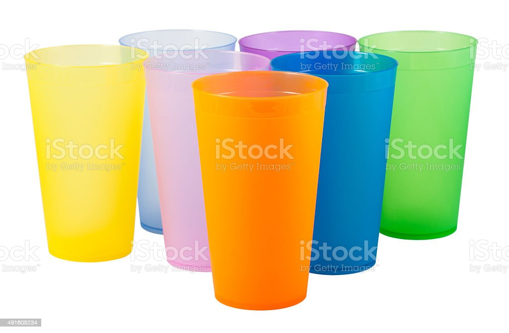 Plastic cups of various color stock photo