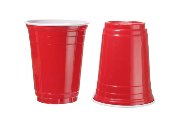 Plastic Cups Plastic Cups on White Background disposable cup stock pictures, royalty-free photos & images