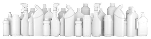 plastic detergent bottles in a row. - bleach stock pictures, royalty-free photos & images