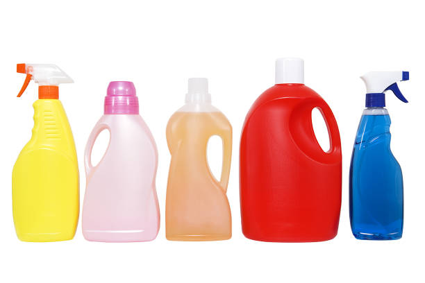 Plastic detergent bottles on white background. Plastic detergent bottles on white background. Cleaning products. laundry detergent stock pictures, royalty-free photos & images