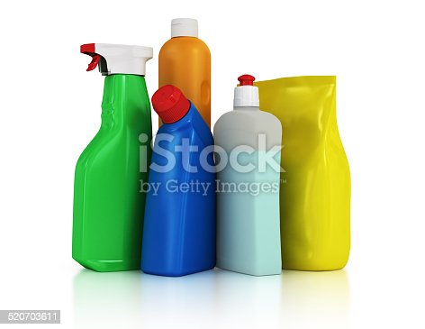 istock Plastic detergent bottles on white background 520703611