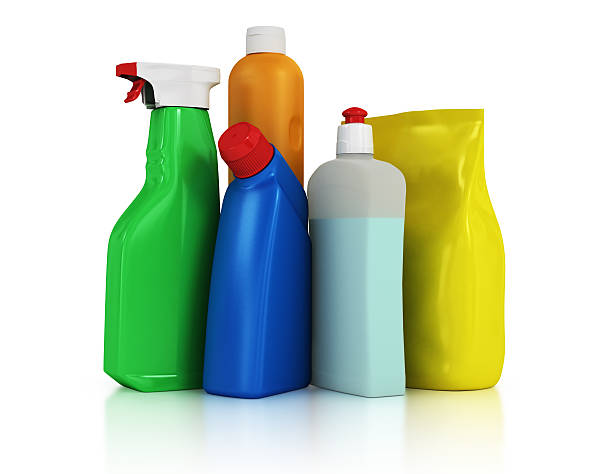 plastic detergent bottles on white background - commercial dishwasher stock photos and pictures