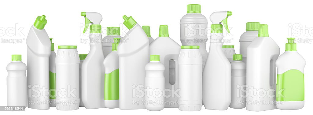 Plastic detergent bottles with green caps in a row. stock photo