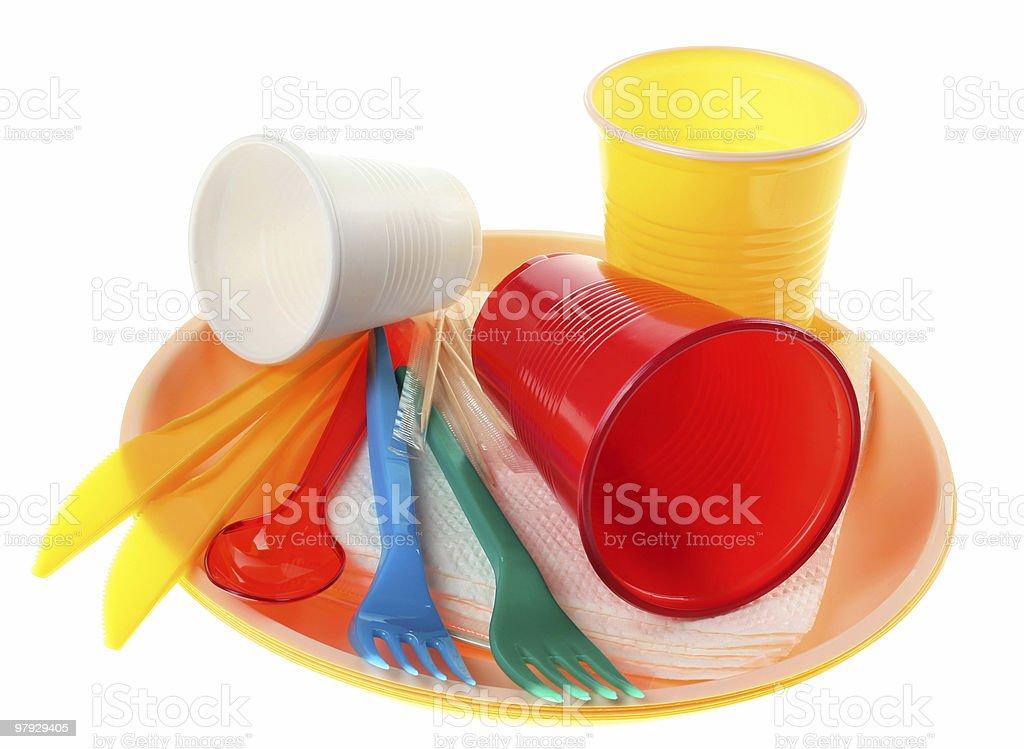 Plastic dishware set royalty-free stock photo