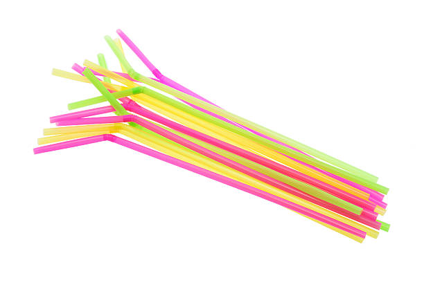 Plastic Drinking Straws Plastic Drinking Straws on White Background drinking straw stock pictures, royalty-free photos & images