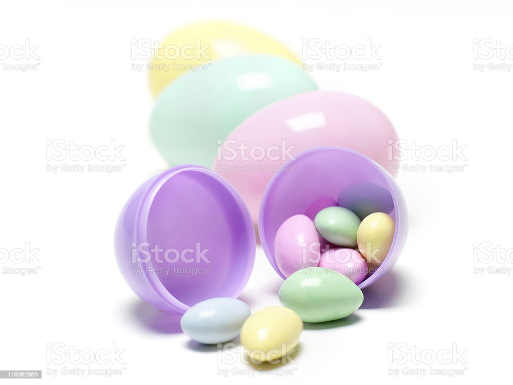 Plastic Easter Eggs with Candy stock photo