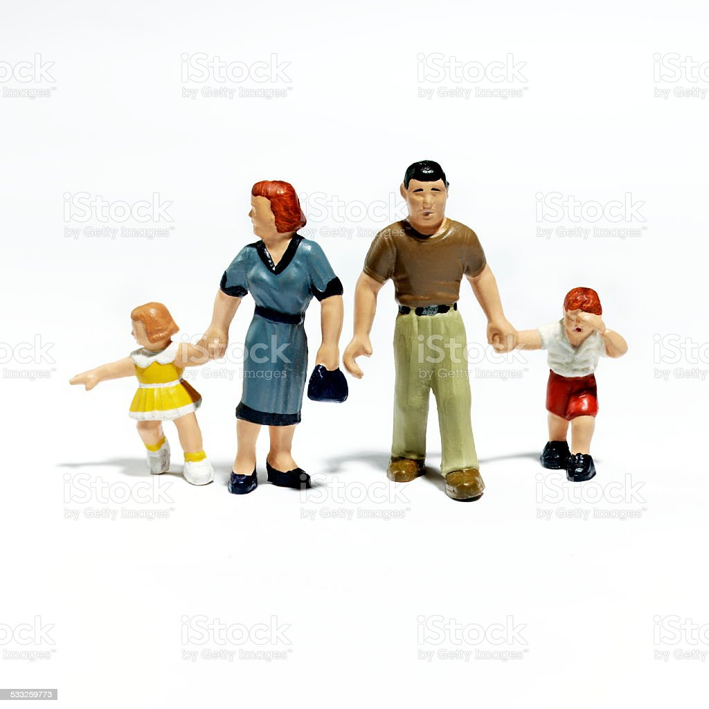 Plastic Figurines of a Family stock photo