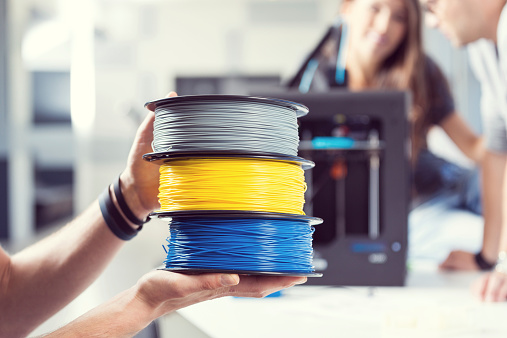Plastic Filaments In 3d Printer Office Stock Photo - Download Image Now