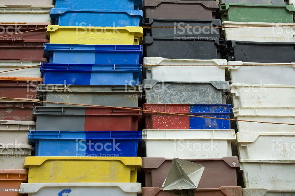 Plastic fishing box fish transport container royalty-free stock photo