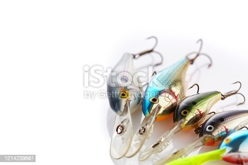 istock Plastic fishing lures on a white background. Place for your text. 1214239561