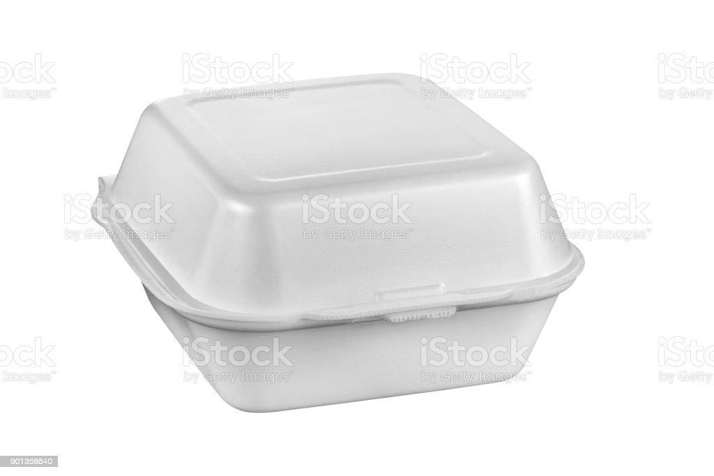 Bandeja de plástico para alimentos, bandeja de comida de espuma de poliestireno aislada sobre fondo blanco - foto de stock