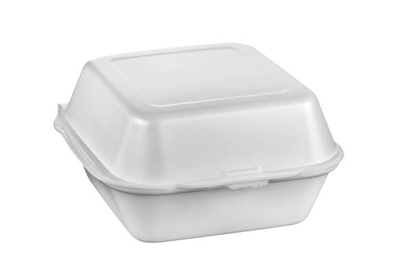 Plastic food tray,Styrofoam food tray isolated on white background stock photo