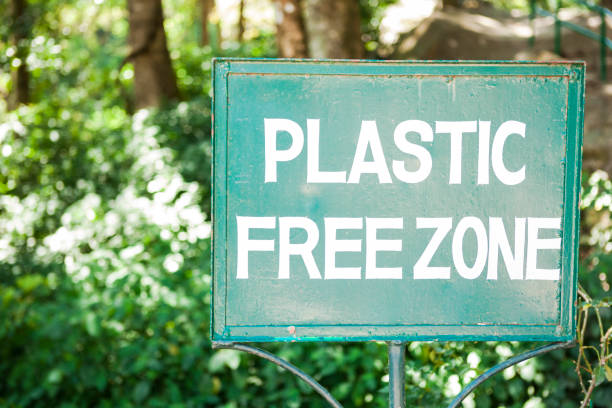 Plastic Free Zone Sign stock photo