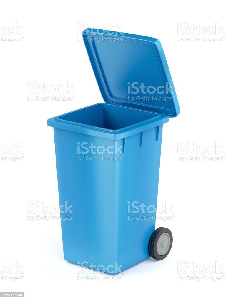 Plast soptunna på vit - Royaltyfri Avfallsbehållare Bildbanksbilder