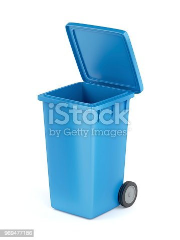 Plastic waste container on white background