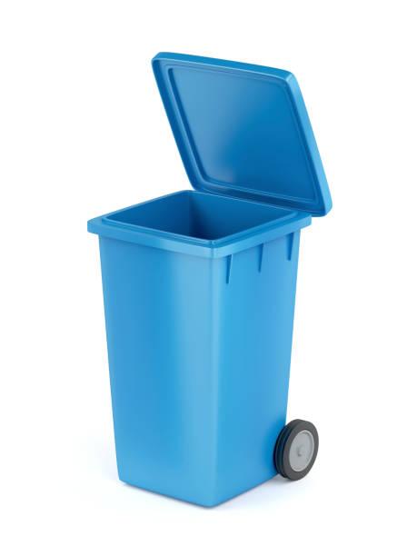Plastic garbage bin on white stock photo