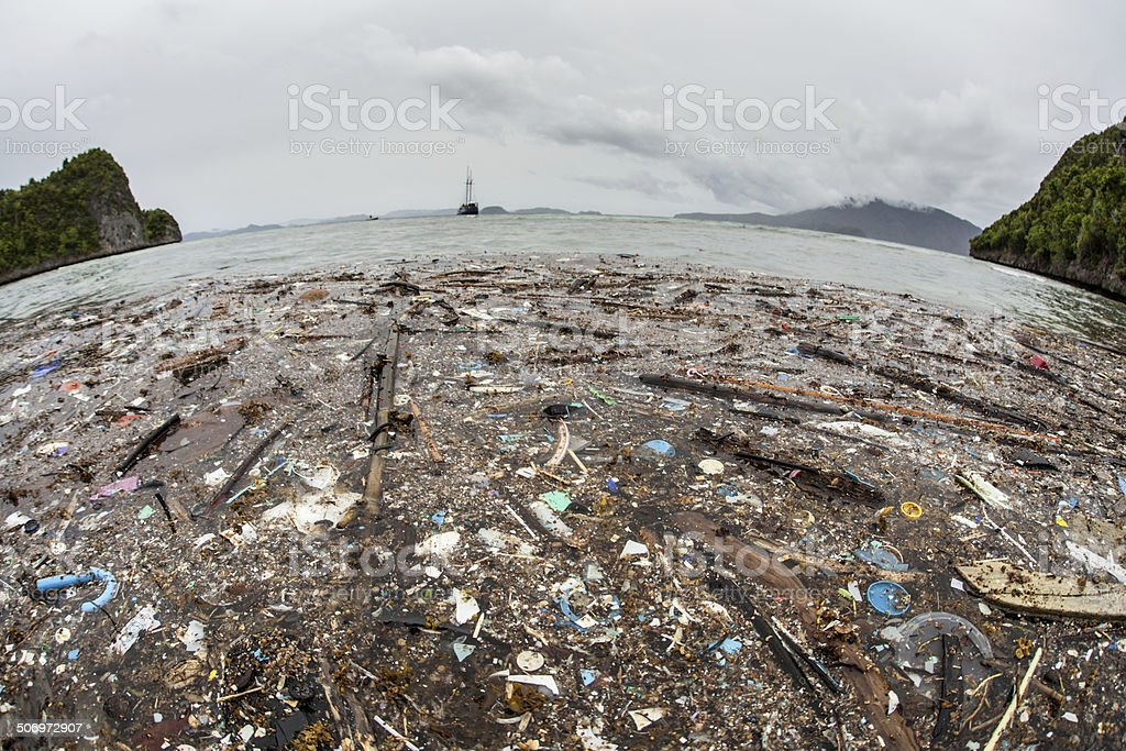Plastic Garbage on Beach stock photo