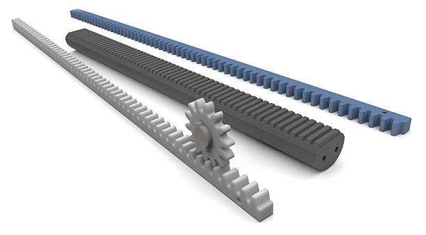 Plastic gear racks with pinion stock photo