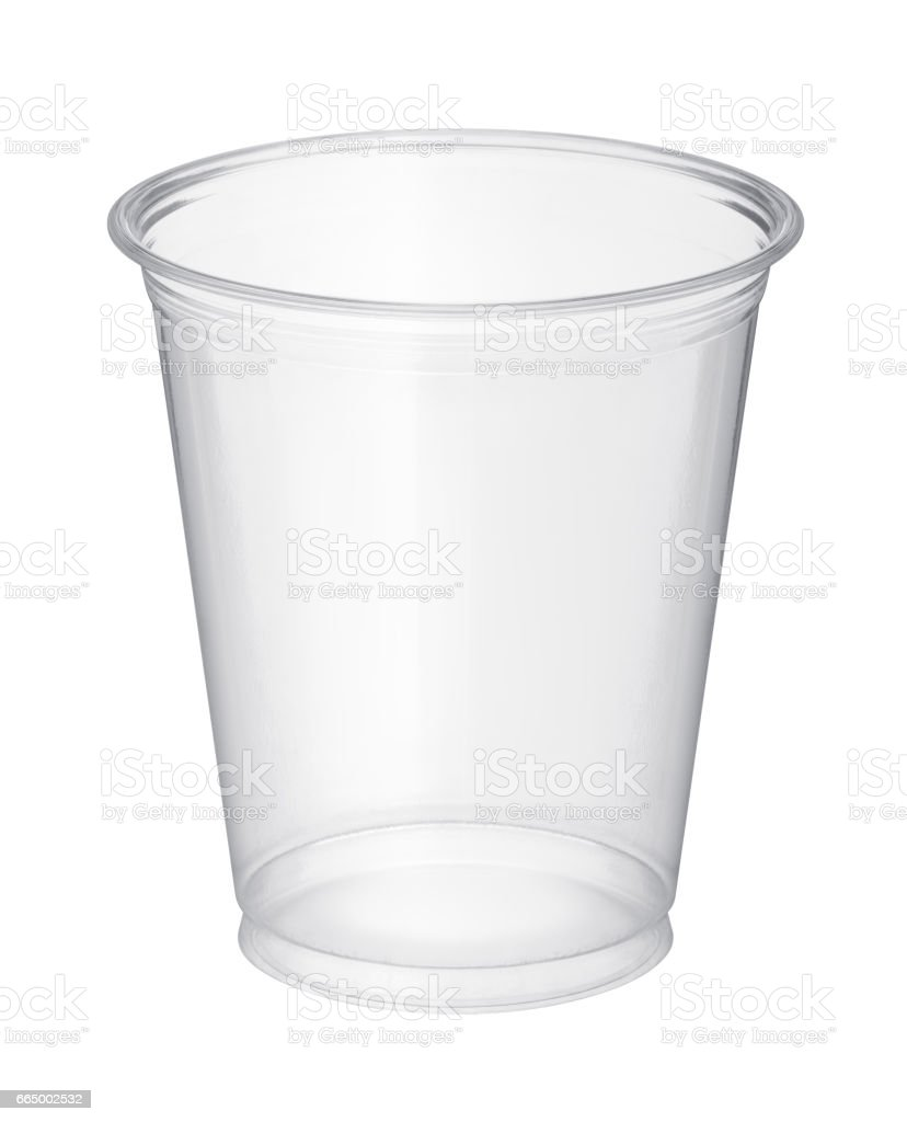 Plastic glass isolated on white background stock photo