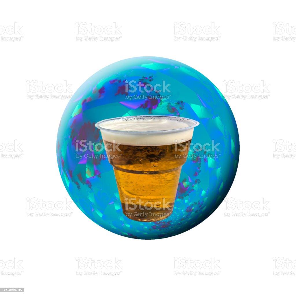 Plastic glass with beer – zdjęcie