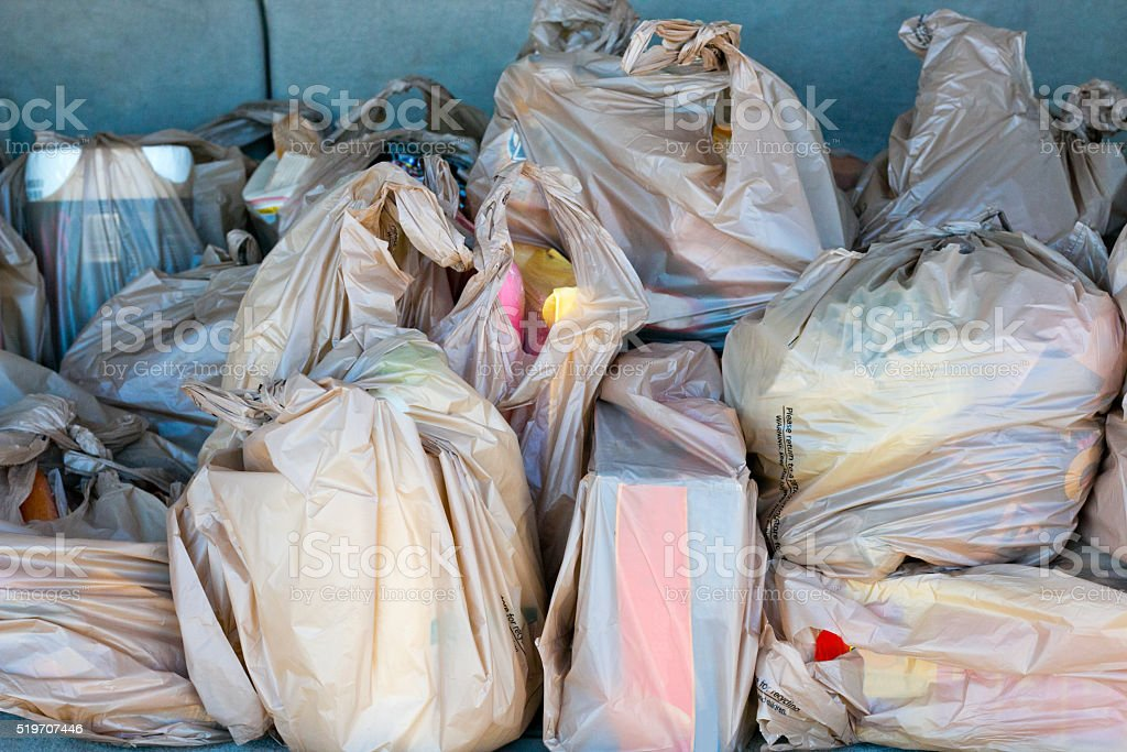Plastic grocery bags stock photo