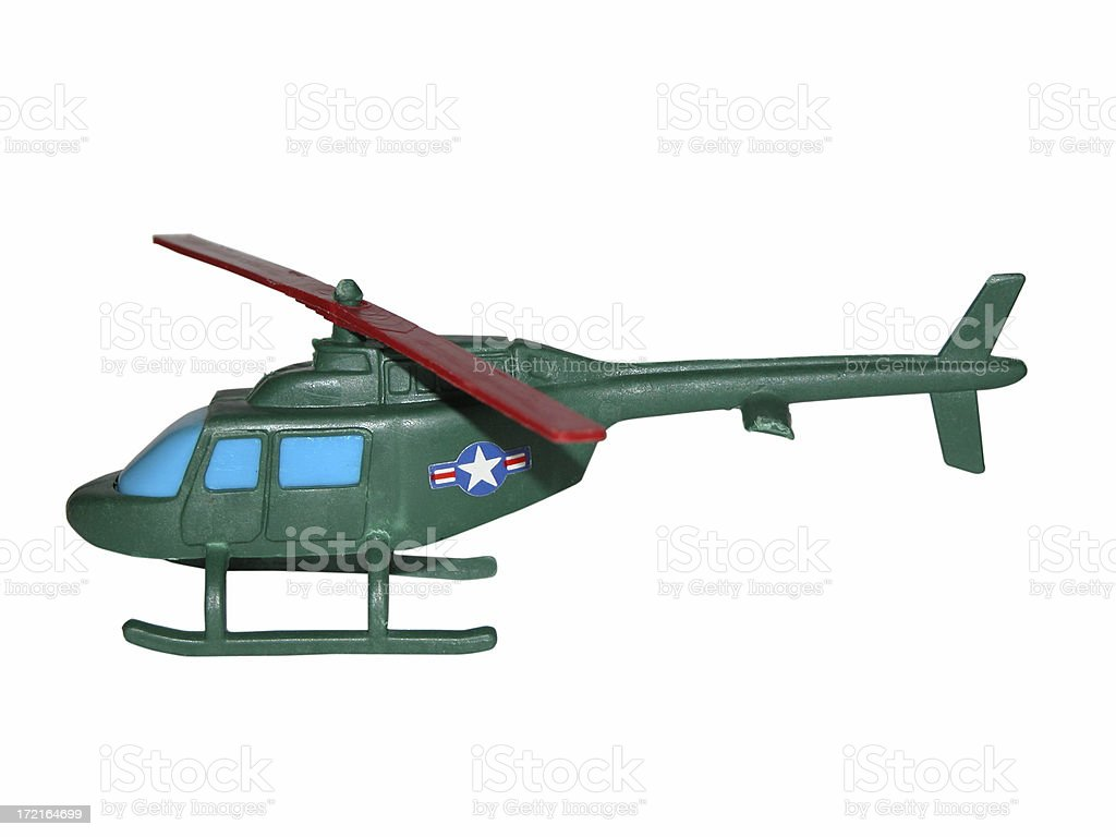 Plastic Helicopter w/ path stock photo