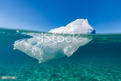 A plastic bag symbolising the pollution and state of the oceans health