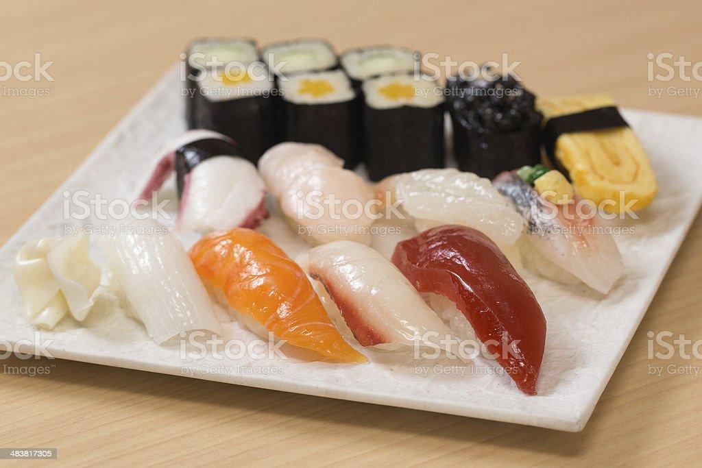 Plastic imitation sushi samples stock photo