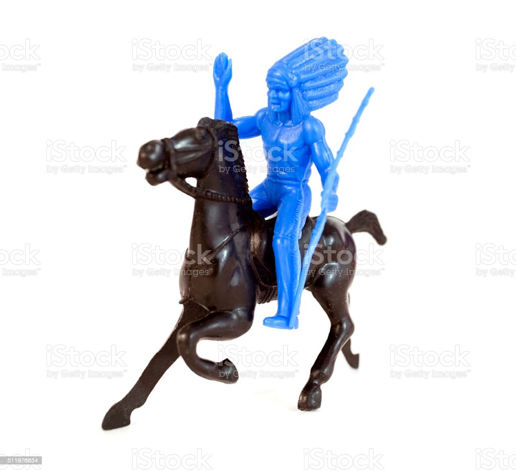 Plastic Indian on Horse stock photo