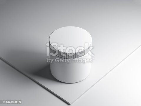 Plastic jar tin can mockup with plastic cap on white abstract background, 3d rendering