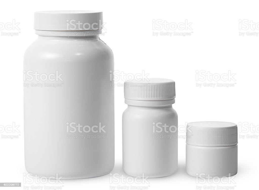 Plastic jars of different sizes for medicines stock photo