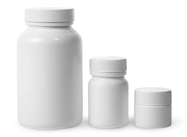 plastic jars of different sizes for medicines - plastic cap stock photos and pictures