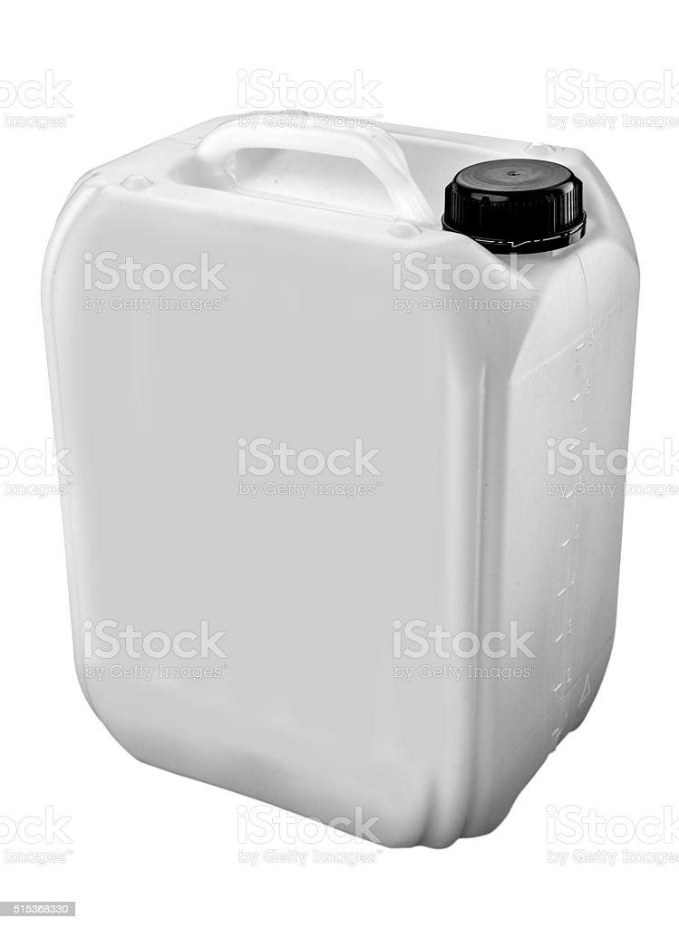Kunststoff jerrycan, isoliert auf weißem Hintergrund – Foto