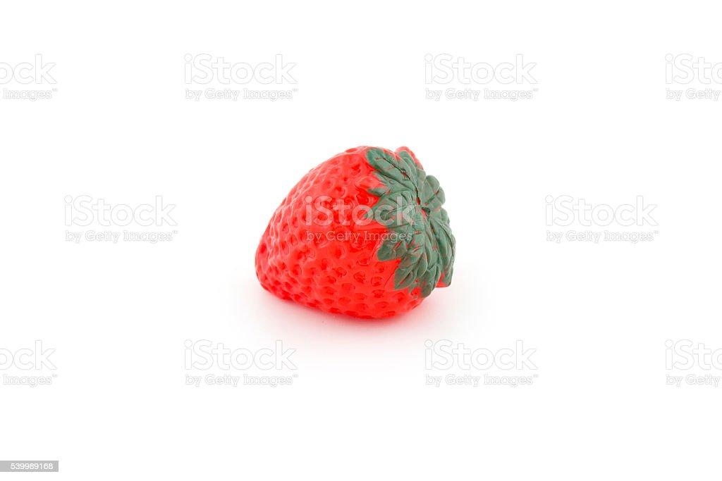 plastic kids fruit toys  isolated on white background stock photo