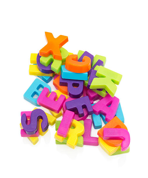 Plastic magnetic letters stock photo