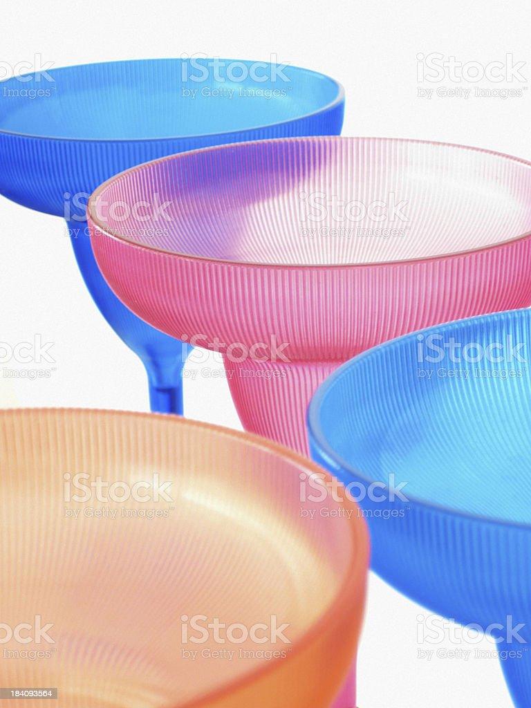 Plastic Margarita Glasses on White Background stock photo